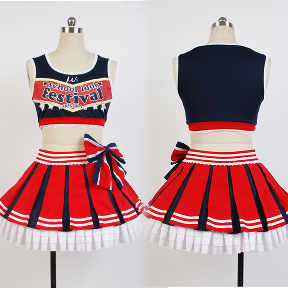 LoveLive! Love Live Honoka Kousaka Cheerleaders Uniform Vest Skirt Anime Halloween Cosplay Costumes For Women Full Sets