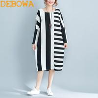 Debowa 2018 New Fashion Spring Women Dress Stripped Contrast Color Patchwork Long Dress Large Size Cotton