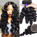 Mink 8A Brazilian Virgin Hair Loose Wave With Closure Virgin Brazilian Loose Curly Hair Weave 4 Bundles With Closure More Wavy