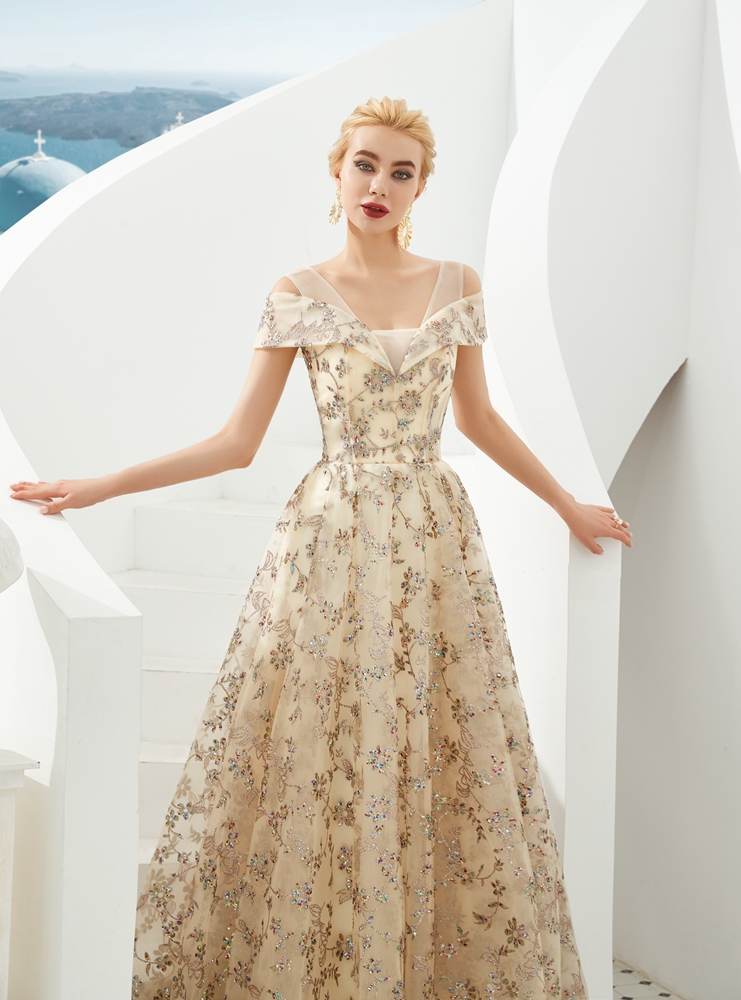 Champagne Evening Dresses Sequined 2019 V Neck A Line Bling Off Shoulder Strap Long Floor Length Lace Up Prom Gown Party Formal 4