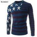 Male Sweater Pullover Men 2017 Male Brand Casual Slim Sweaters Men Five-Pointed Star Printed Stripes Hedging O-Neck Men'S 2XL