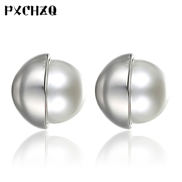Ms New Simple Fashion Silver Plated Jewelry Earrings Dess Temperament Beautiful Pearl Cute 6mm