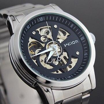 Fashion Wilon Brand Men Fashion Mechanical Watches Self Winding Full Steel Dress Clock Skeleton Business Relojes wilon all steel self winding mechanical wristwatch silver
