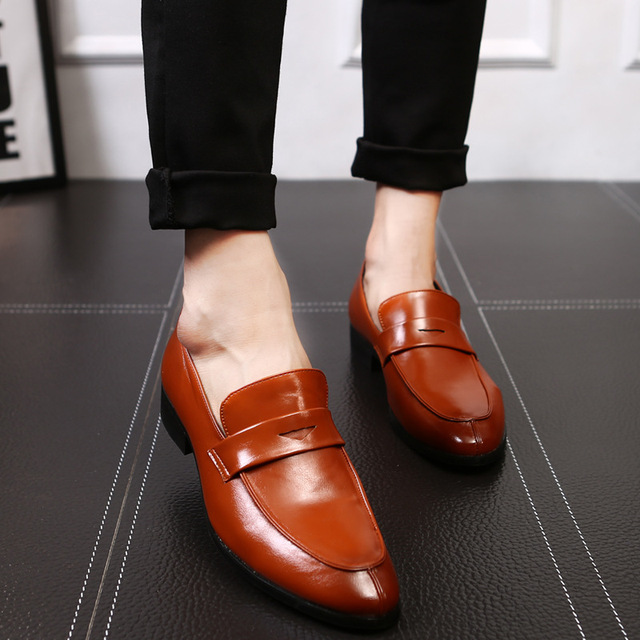 Yomior Bespoke Fashion Men Leather Shoes Handmade Men's Dress Brogue Shoe Classic Loafers Footwear Business Party Office Wedding Formal Shoes