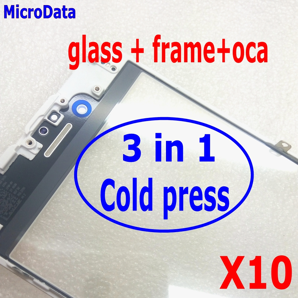 MicroData COLD PRESS Front Glass frame WITH oca For iPhone 6 6s plus Outer Glass with
