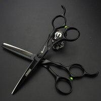 6 Incn Professional Hair Scissors Set Black Hairdressing Cutting Thinning Scissors Barber Shears Ciseaux Coiffure