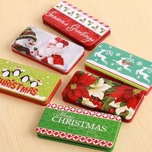 Рождественский стиль Оловянная коробка металлический кейс ювелирный чехол Рождественская Конфетница Подарочная коробка для открыток