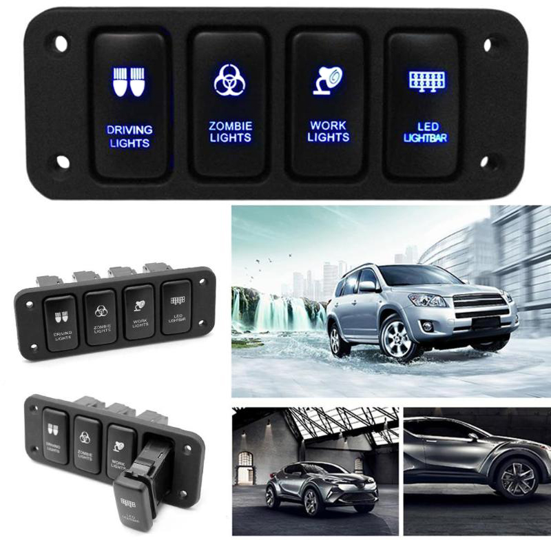 US $16 67 20% OFF|VODOOL w/ 150mm12V 4 Button Blue LED On/Off Car Rocker  Switch Panel Rocker Switch Panel Cable For Toyota Hilux FJ CRUISER VIGO-in
