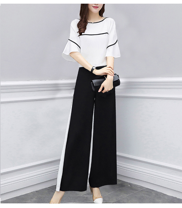 Wide Leg Pants Suit Female 2019 Spring Summer New Fashion Two-piece Short-sleeved Slim Casual Sports Trousers Women's Clothing
