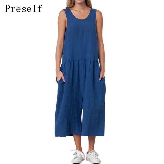 Preself jumpsuit casual cozy algodão linho soltas calças perna larga playsuit macacão mulheres primavera roupas de verão azul de grandes dimensões