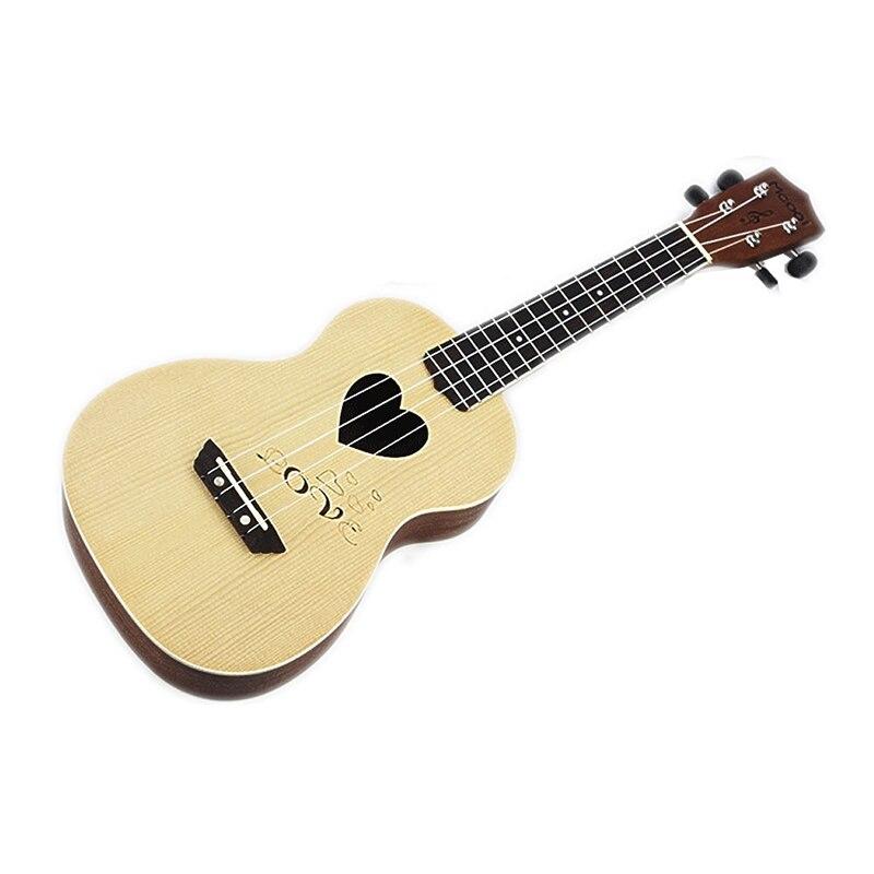 Mcool 23 pouces Concert épicéa palissandre touche Ukelele Ukulele 4 cordes Hawaii Mini guitare Uke en forme de coeur ton trou - 3