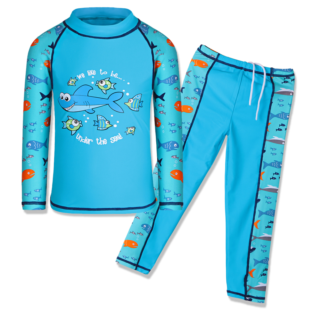 2017 Long Sleeve Rash Guards Boys Swimsuits 2Pcs Set UPF50+ UV Girls Clothes Sunblock Ba ...