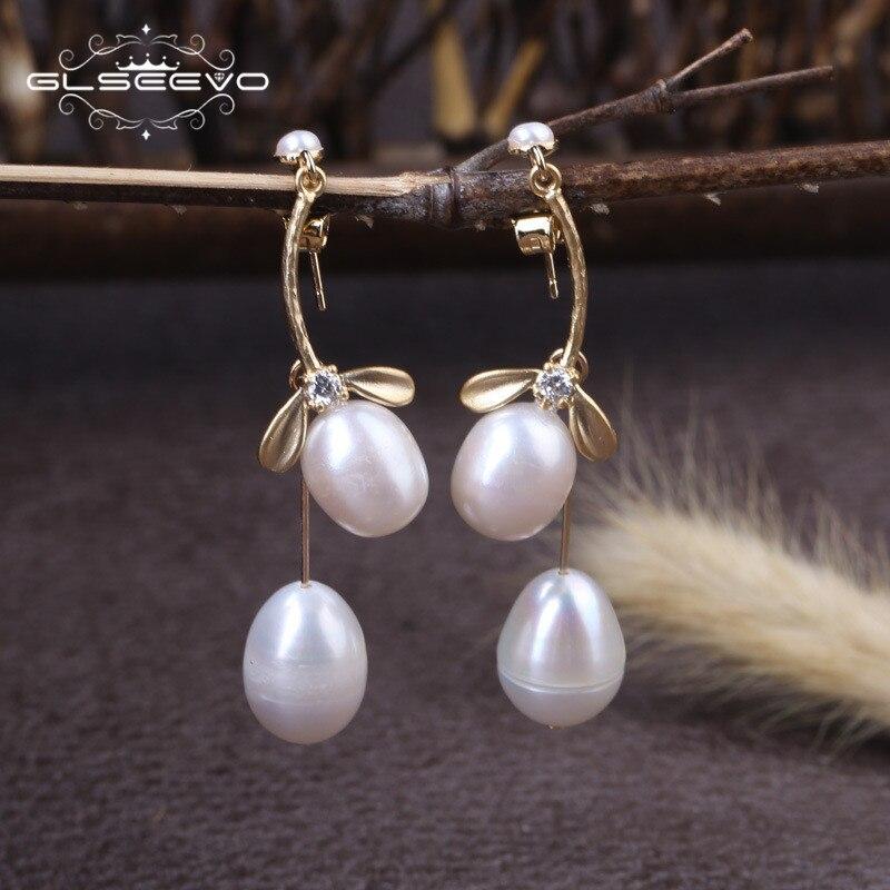 GLSEEVO Natural Fresh Water Pearl Dangle Earrings For Women Plant Leaves Drop Earrings Piercing Handmade Fine Jewellery GE0328 tropical leaves drop earrings