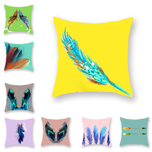 Double-sided Cushion Cover Feather Peacock Color Pattern Printing Yellow Throw Pillowcase Home Bird Pillow Covers Decorative(China)