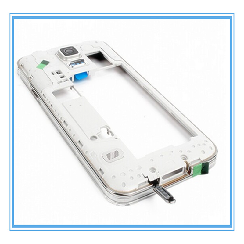 Dual Sim Card Original New Middle Frame Housing For Samsung Galaxy S5 i9600 G900F Replacement Middle Housing Chassis Bezel Frame