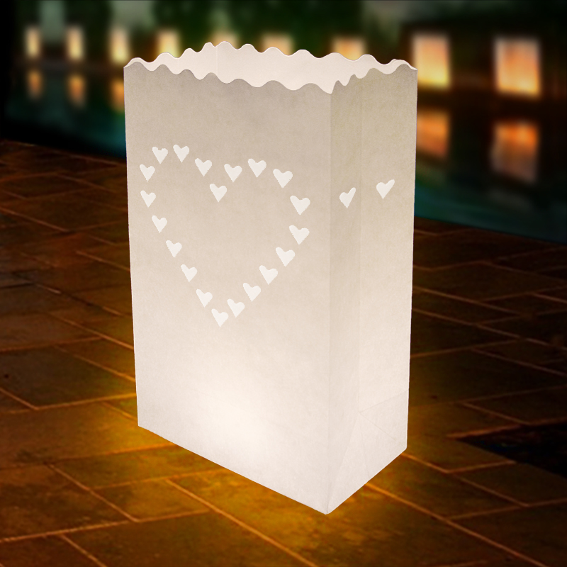 10 Large Hearts Wedding Outdoor Path Tea Light Candle White Paper Bag Lantern In Gift Bags Wring Supplies From Home Garden On Aliexpress