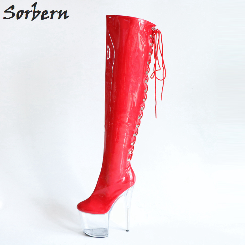 Sorbern Red Lace Up Over The Knee Boots Super High Heels 20Cm See Through High Heel Platform Boots Women Custom Wide Fit Leg women s stylish high waist see through dress