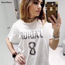 Funny White T-shirt Woman in Women's T shirt Plus Size Women Clothing Summer 2017 Tops Chiffon Short Regular Letter O-Neck