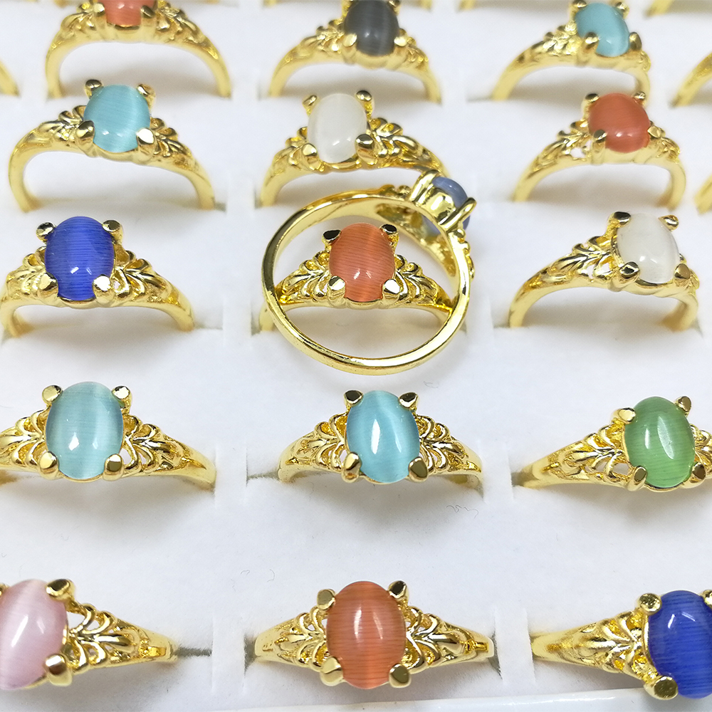 100pcs Wholesale Lots Bulk Fashion Gold Color Band Mixed Colorful Cat Eye Opal Stone Rings Jewelry Women Girl Rings in Rings from Jewelry Accessories