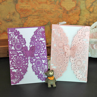 AJP 1pcs hollow butterfly wedding invitation laser Luxury Wedding Invitations Card Elegant Lace Favor Wedding party supplies