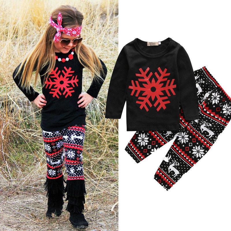 2016 Kids Girls Snowflake Christmas Outfits Long Sleeve T-shirt Tops + Pants Clothes Set 2pcs boy kids long sleeve tops pants nightwear sleepwear pajama pyjamas outfits