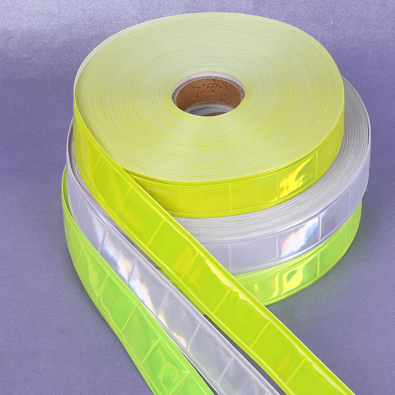2.5cm*50M High Visibility Fluorescent PVC Strip Night Reflective Safety Warning Tape Sewing Material For Clothing Bag