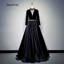 JaneVini 2018 Black Satin Beaded Long Bridesmaid Dresses for Weddings V-Neck  Illusion Floor Length Abiti Da Damigella Donore