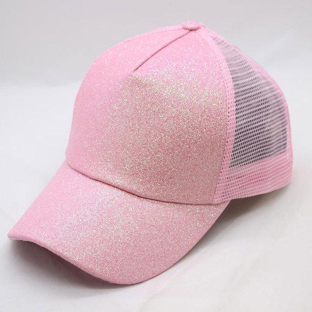 Women s Hat Glitter High Ponytail Hole Cap 5 Panel Mesh Trucker Baseball Cap  Gold Silver White Black Pink Brown Blue 4497c74957