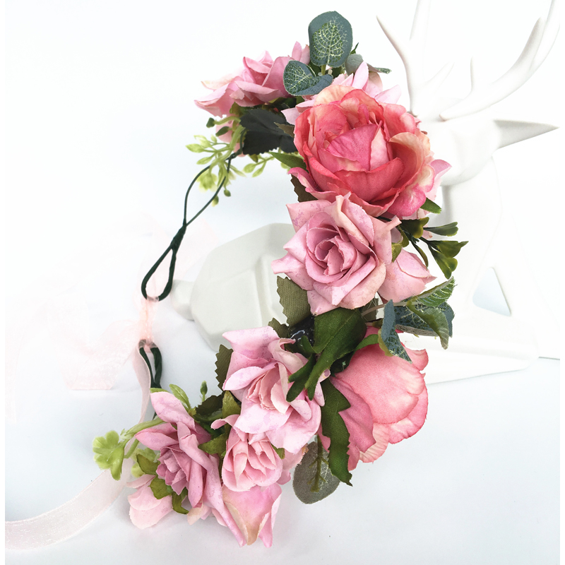 Wholesale Rose Flower Headband Wreath Kids Party Floral Garlands Adjustable Festival Flower Crown Women Wedding hair