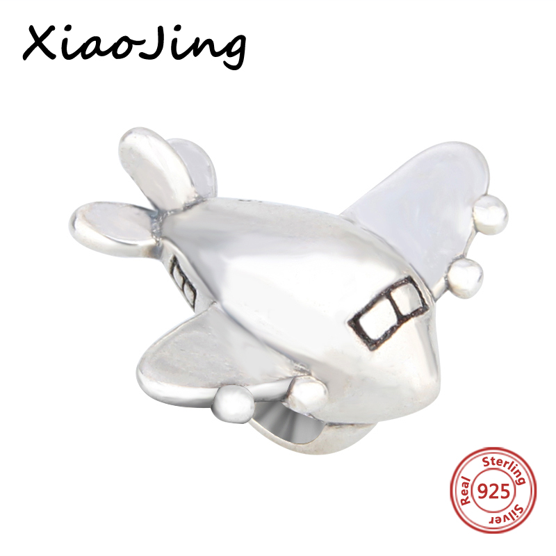 New arrival 925 Sterling Silver The Plane Toy Shape Charm Bead Fit Pandora Bracelets Berloque pendant beads jewelry making Gift