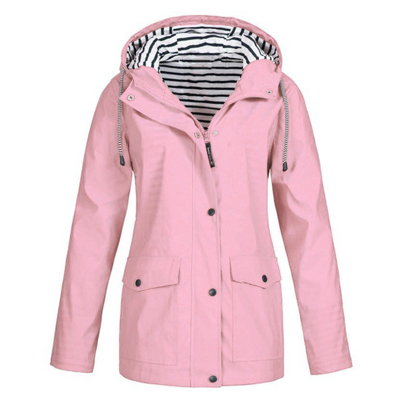 S-5XL Women's Hooded   Jackets   Casual Windbreaker Women   Basic     Jackets   Coats Zipper Pockets Outwear Bomber Famale Pink Clothing