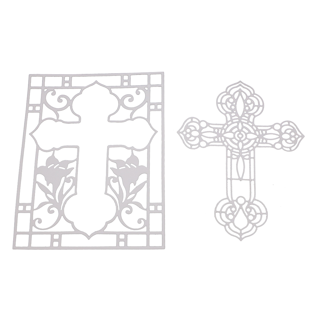 Electronic Components & Supplies Gjcrafts 2018 New Crosses Two Etched Metal Cutting Dies For Scrapbooking Card Album Making Diy Craft Diecut Stencil Embossing