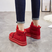 Women's Sneakers Platform Shoes 2018 Autumn Winter Genuine Leather Ankle Boots Women Shoes Flat Platform High Top Woman Sneakers