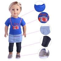 Камера футболка + джинсовая юбка + леггинсы + модная повседневная обувь для 18 дюймов American Girl Doll, дети лучший Рождество подарок