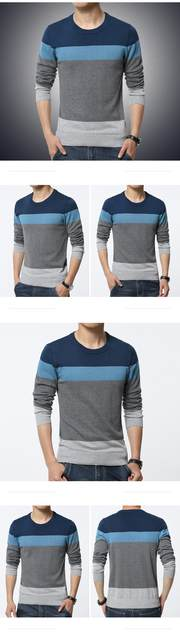 2019 Autumn Casual Men's Sweater O-Neck Striped Slim Fit Knittwear Mens Sweaters Pullovers Pullover Men Pull Homme M-3XL 16