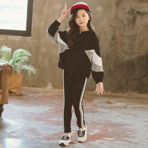 Image 4 - Fashion Girls Clothing Set Hooded Sport Set for Teenagers Striped Black Tracksuit Children Clothes 2019 Korean Kids Clothes Set