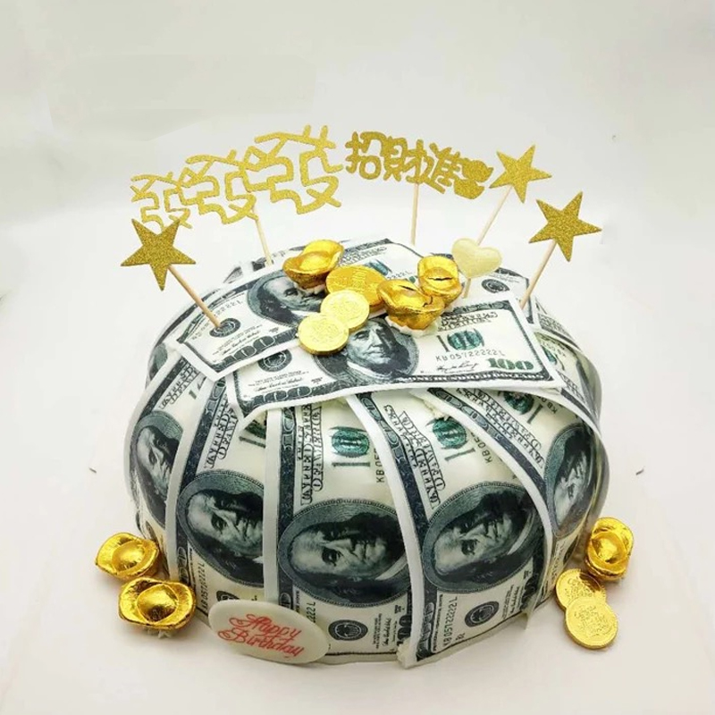 Money USD Dollar, GBP, Rupee, EUR Edible Wafer Paper For Cake Decorating, 36pcs  Customized Wafer Transfer Cake Paper