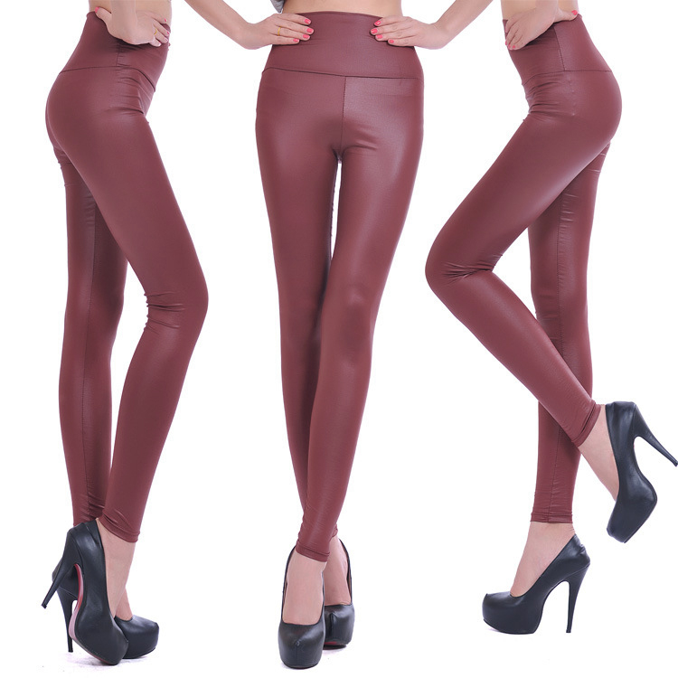 SYB 2016 NEW Womens Faux Leather High Waist Leggings Pants-wine Red