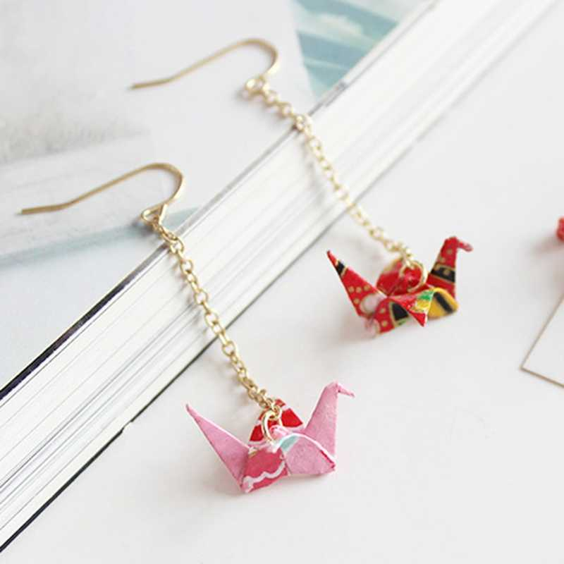 Japanese Paper Crane Jewellery Accessory 5 Colors 2018 1 Piece Women Gifts Women Drop Earrings