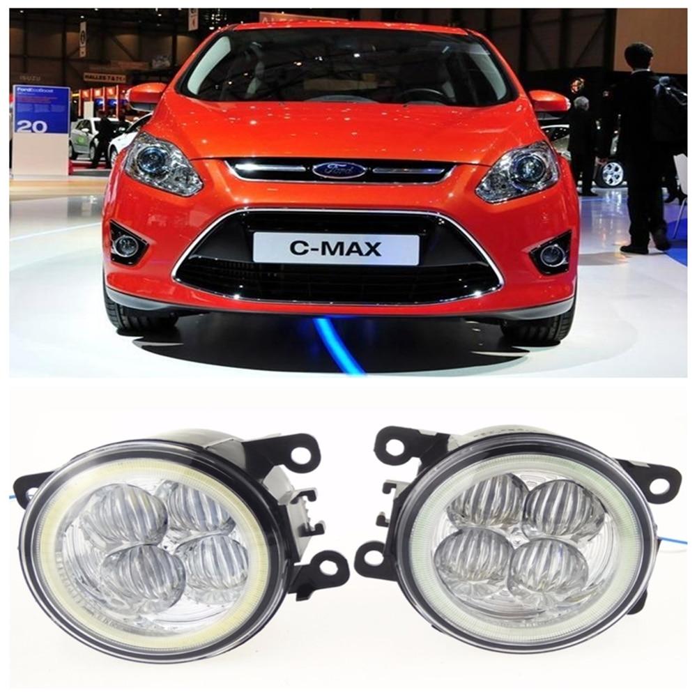 For FORD C-Max 2 MPV  2010-2015 10W high brightness LED Angel eyes fog lights Car styling fog lamps for lexus rx gyl1 ggl15 agl10 450h awd 350 awd 2008 2013 car styling led fog lights high brightness fog lamps 1set
