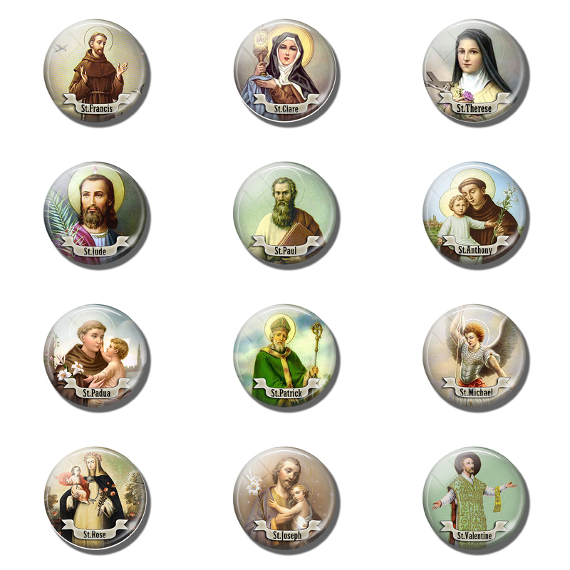 12pcs St Francis 25MM Magnetic Refrigerator Sticker Therese Saint Religious Glass Dome Fridge Magnet Note Holder Christmas Decor