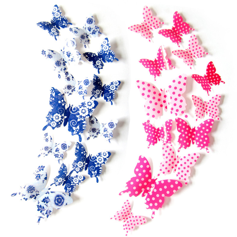 12Pcs/Bag 3D Cute Spots Butterfly Wall Stickers for Kids Room Home Decor Living Room Furniture Stickers
