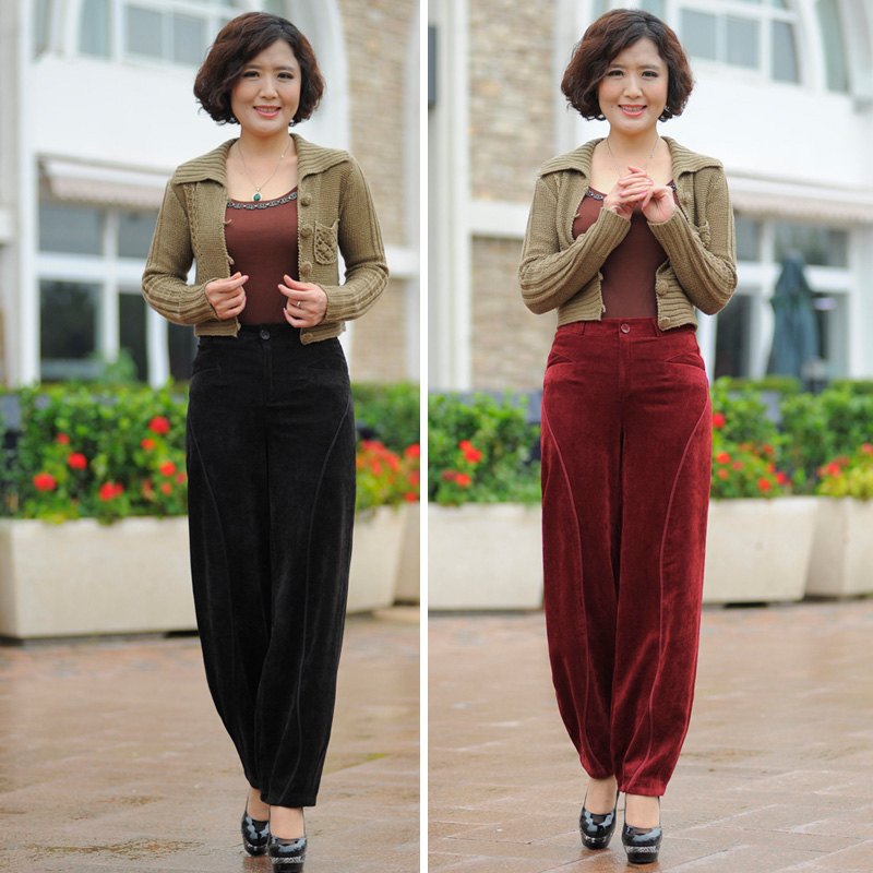 New autumn and winter middle-aged corduroy pants corduroy pants high waist casual radish pants large size loose trousers