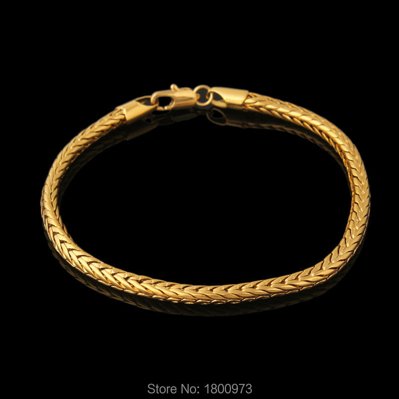 New Fashion Jewelry 18K Real Gold Plated  Bracelet Men Round 21cm 0.5cm Snake Chain & Link Bracelet Wholesale Free Shipping