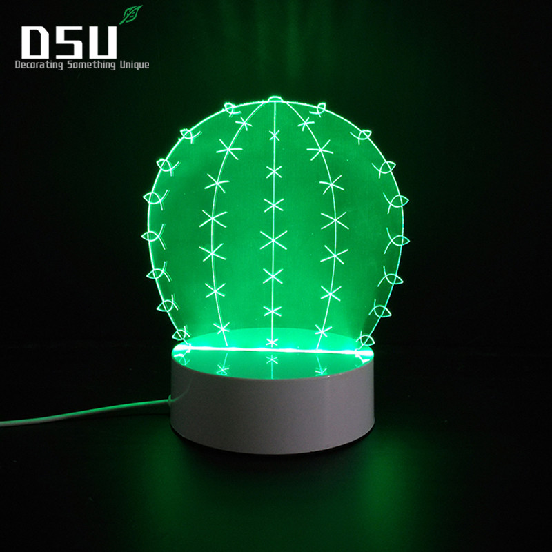 3D Cactus Led Lamps Night Lights Optical Illusion Visual Gift for Kids Decorative living room Bedroom Holiday Party Home Decor novelty smile face rainbow led night lights battery night lamps for baby room nursery living room decor kids christmas gifts