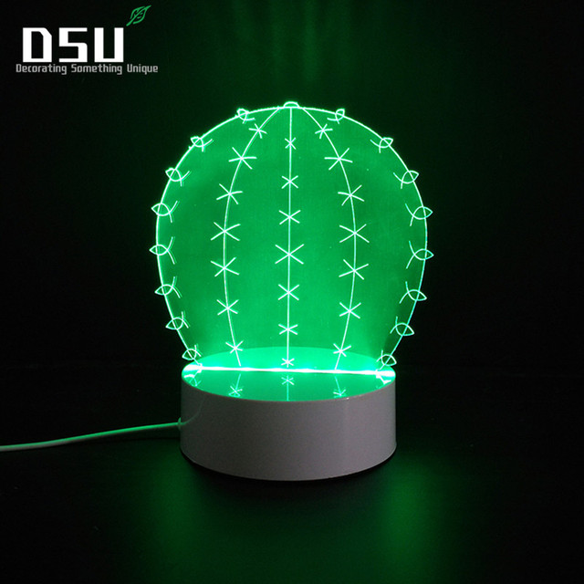 3d Cactus Led Lamps Night Lights Optical Illusion Visual Gift For
