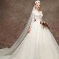Luxury Bling Arabic Muslim Wedding Dress 2019 A line Long Tail Light Champagne Beads Wedding Gowns Long Sleeve Bridal Dress