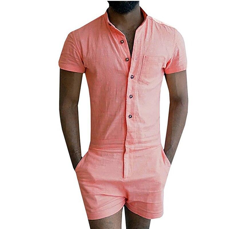 Hot Fashion Romper Summer Short Sleeve Stretch Jumpsuit Men Casual Slim Fit Party Overalls Boyfriend Jumpsuit