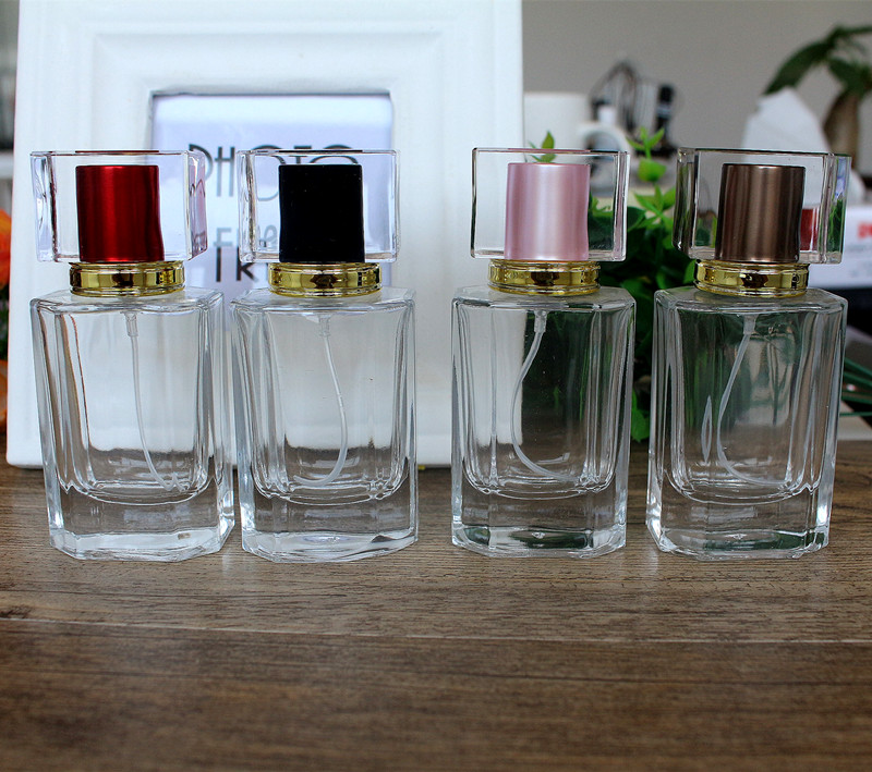 50ML New Cover Crystal Glass Perfume Bottle Glass Spray  Removable Empty Bottle