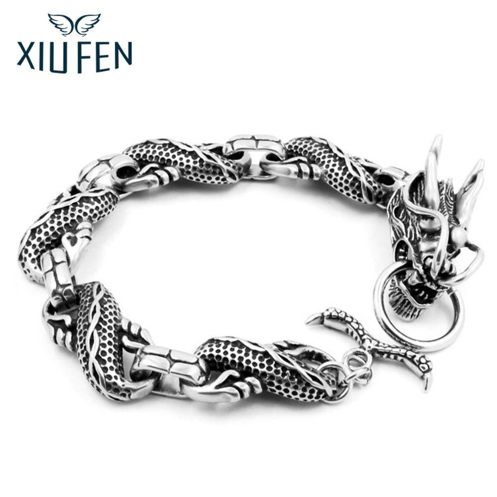 XIUFEN Cool Stainless Steel Dragon Bracelets For Men Personality Fashion Stainless Steel Bangle Men's Gift ZK30
